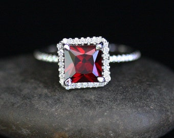 Pyrope Garnet Engagement Ring Red Garnet Halo Ring in 14k White Gold with Diamond Halo (Also Available in Rose Gold)
