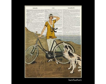 Women Biking with Dog - Dictionary Art Print - Vintage Illustration - Book Page Art Print No. P401