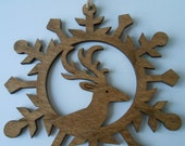 Reindeer Wood Ornament, Laser Cut. Christmas, Holiday Decoration. Rustic. Santa.