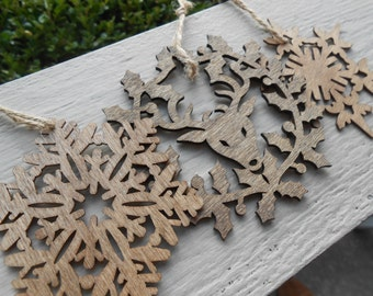 Set of Three Wood Ornaments, Laser Cut. Snowflakes & Reindeer. Christmas, Holiday Decoration. Rustic.