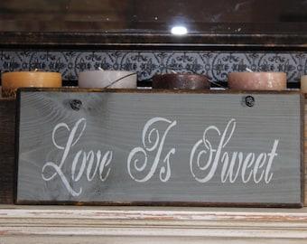 wood sign, love is sweet, wedding sign, wedding decor, wall decor, wall hanging