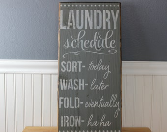 wooden sign,laundry room, laundry schedule, funny, humor, subway art, wall hanging, wall decor
