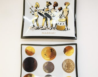 Two Nassau Souvenir Plates - Change and Keys - Small Smoked Black Glass Plates - Coins and Steel Drum Band - Gold, White and Black Detailing