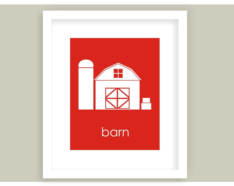 Red Barn Wall Decor : Red barn wall art farm kids decor barnyard by
