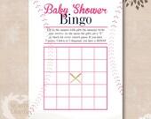 Pink Baseball Baby Shower Bingo - Baby Sports Baby Shower Theme - INSTANT DOWNLOAD