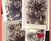 Iphone 6 Plus Case (brand new) w/hand drawn Zentangle design