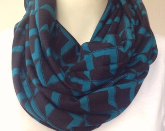 Black and teal geometric print scarf,  soft stretch jersey infinity scarf, black with teal scarf, teal and black infinity, womens scarf