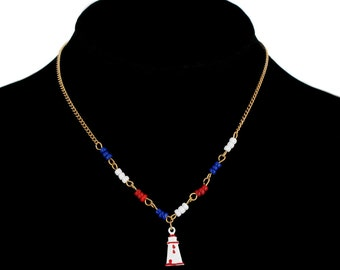 Nautical Blue Red White Lighthouse Pendant Necklace Beaded Vintage 1970s