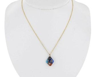 Diamond Shaped Glass Flower Multicolor Pendant Necklace Vintage 80s
