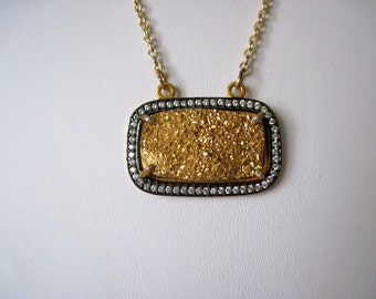 Gold druzy  necklace great mothers day gift