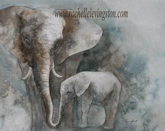 elephant painting of elephant Print elephant art PRINT elephant PRINT watercolour painting baby elephant Wall art nursery art artwork 11x14