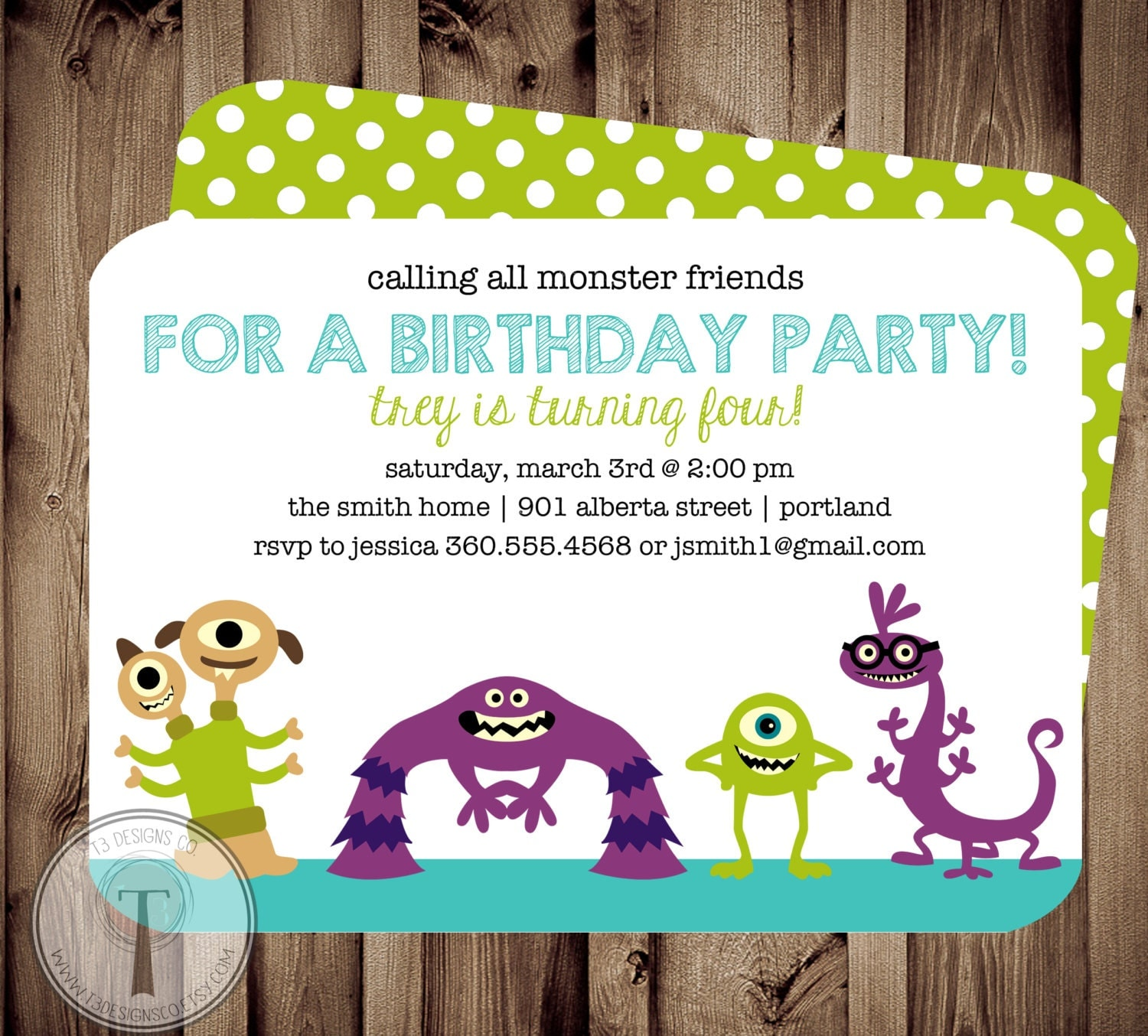 Monster Friends Birthday Invitation birthday inviteboy and girl