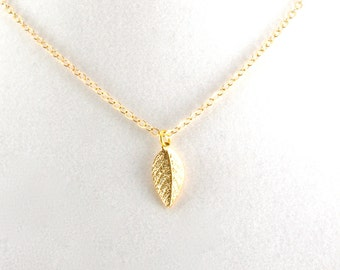 Tiny Leaf Necklace, Gold Leaf Pendant, Nature Inspired Jewelry, Gifts Under 15