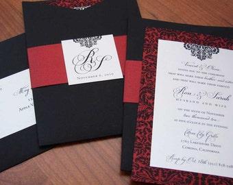 Spanish-Inspired Wedding Invitation // Damask Wedding Invitation