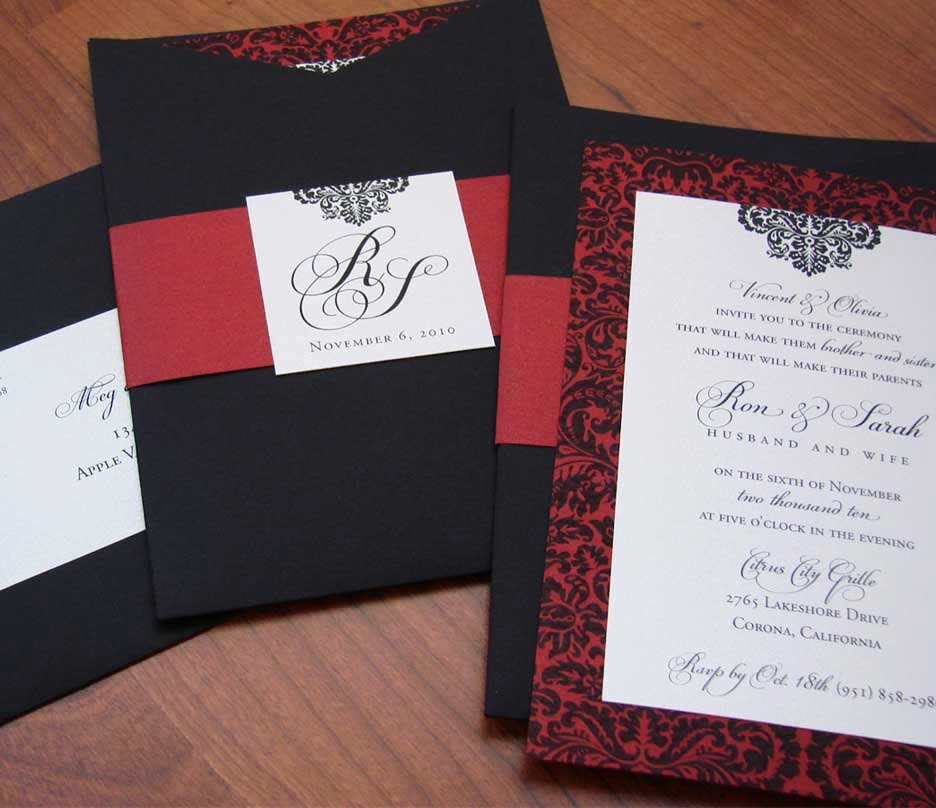 Spanish Inspired Wedding Invitation Damask Wedding