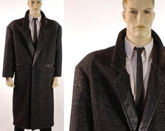 Vintage 1980s Men's Tweed Wool Overcoat Leather Lapels / Pockets / RARE Black Full Length Coat  - Dual Control Label/Oak Tree - Size Small