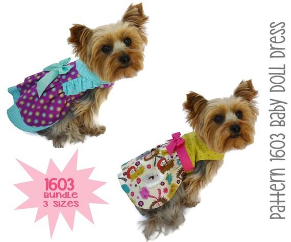 Baby Doll Dog Dress Pattern 1603 * Bundle 3 Sizes * Dog Clothes Pattern * Dog Harness Dress * Designer Dog Dress * Dog Apparel * Pet Dress