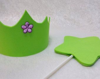 PARTY PACK Tinkerbell Tiara / Fairy Crown & Wand Party Favor