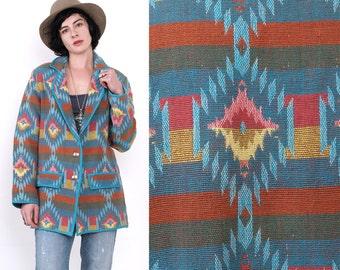 90's TRIBAL Southwestern Ethnic Indian Aztec Oversized Woven Cotton Blanket Jacket Vintage Coat M