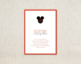 Vintage simple red black mickey mouse birthday party invitations