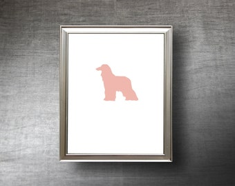 Afghan Hound Art 8x10 - UNFRAMED Hand Cut Pet Silhouette Print - 4 Color Choices - Personalized Name or Text Optional