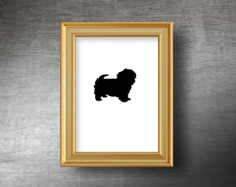 Maltese Wall Art 5x7 - UNFRAMED Hand Cut Maltese Silhouette Portrait - Personalized Name or Text Optional