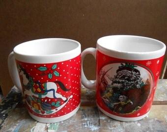 Set of 2 Christmas Mugs 1990's