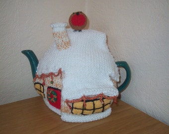 Knitted Tea Cosy Cozy Cosie Christmas Cottage Shabby Chic
