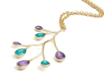 Xmas Gift Ideas, Turquoise and Purple Necklace, Branch Necklace, Gold Nature Jewelry, Nature Necklace, Branch Pendant, Make Christmas Gifts