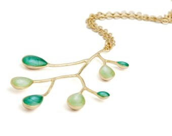 Xmas Gift Ideas,Green Gold Necklace,Branch Necklace,Nature Necklace,Emerald Green Pendant,Nature Pendant,Branch Jewelry,Make Christmas Gifts