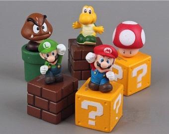 Super Mario Bros CAKE TOPPER Luigi Yoshi Goomba 5 Figure Set Birthday Party Cupcakes Mini Figurines Nintendo * FAST Shipping *