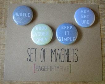Set of 4 Inspiration Magnets. Magnets. Typography Magnets. Refrigerator Magnets.