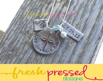 Hand Stamped Jewelry - Cross - Mother Necklace - Birthstone - Birthdate - Grandmother Necklace - Inspirational - Personalized - Gift