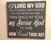 "How Great Thou Art Hand Painted Wooden Sign 12""x12""x1/2"""