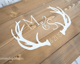 Antler Wedding Guest Book Alternative Wood Sign