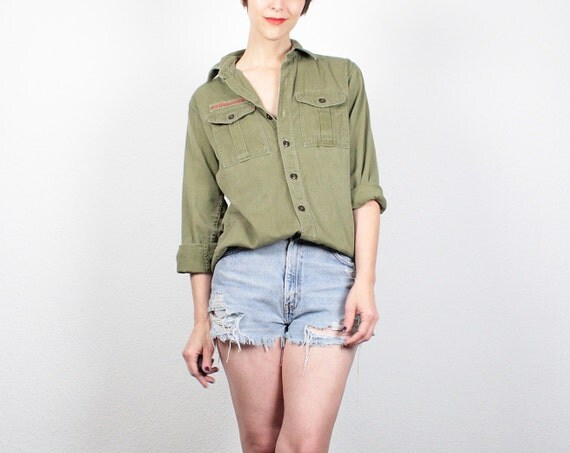 Vintage 1950s boy scout shirt army green by shoptwitchvintage