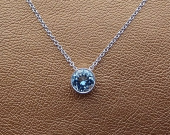 March Birthstone Light Blue Aquamarine Solitaire Necklace 18k White Gold