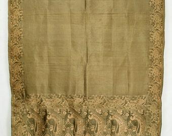 Indian Jamawar Silk Floral Printed Saree Vintage Fabric Crafting Drapery Sari  TP2045