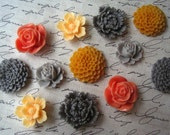 Pretty Magnets, 12 pc Flower Magnets in Coral, Peach and Gray, Kitchen Decor, Housewarming Gifts, Hostess Gifts, Wedding Favors