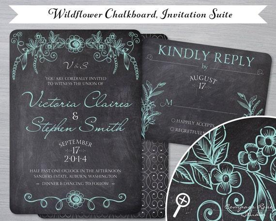 Chalkboard Wedding Invitations: Items Similar To Wildflower Chalkboard Wedding Invitation