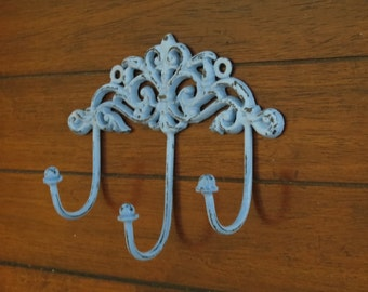 Shabby Chic Wall Hook / Cottage Chic / Key Hanger / Key hook rack / French Cottage / Distressed Spa Blue/ 3 Hooks