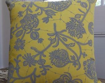 Amy Butler Lark Glamour Souvenir Lemon Yellow  Grey Cushion Cover/pillow measuring 45cm or 18inches