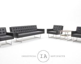 Patrician Mid Century Modern Black Vinyl Furniture Set Herman Miller Knoll