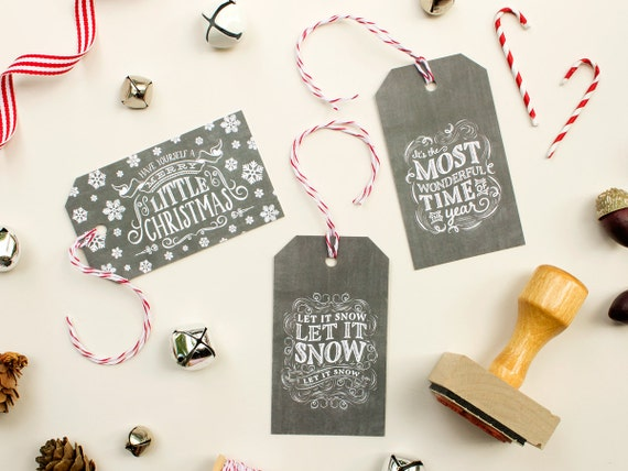 Chalkboard Gift Tags, Vintage Christmas Tags with Baker's Twine, Chalkboard Labels for Christmas Presents, Holiday Gifts