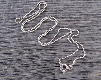 Sterling Silver Ball Chain, 16 Inch Chain, 1.2mm Sterling Chain, Silver Bead Chain, Sterling Bead Chain, 925 Chain, Italian Silver Chain