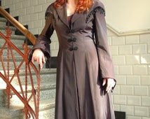 Purple taffeta redingote with beaded cape and frogs knotted closures Victorian one of a kind coat with train size S-M