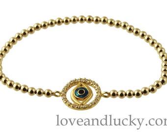 Gold Filed Evil Eye Bracelet -  bra-gf-g-evileye-2