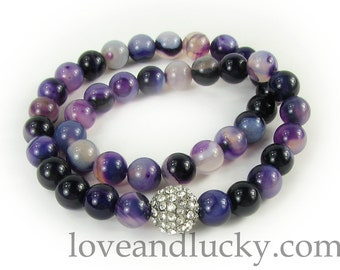Double Amethyst Bracelet  with Pave Silver CZ bead -  bra-ame-01