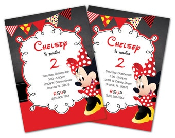 Minnie Mouse invitations, Red, Minnie Mouse Party Package, Minnie invite, Minnie Party, Minnie Invitation, Minnie Mouse Package, Red (M6)