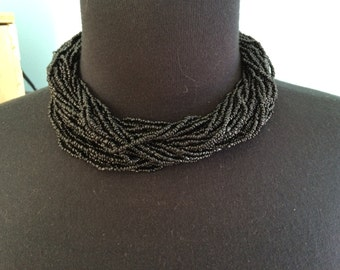 Vintage torsade black glass bead choker necklace